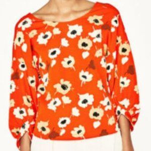 Floral Puffed Sleeved Poppy Top (L)